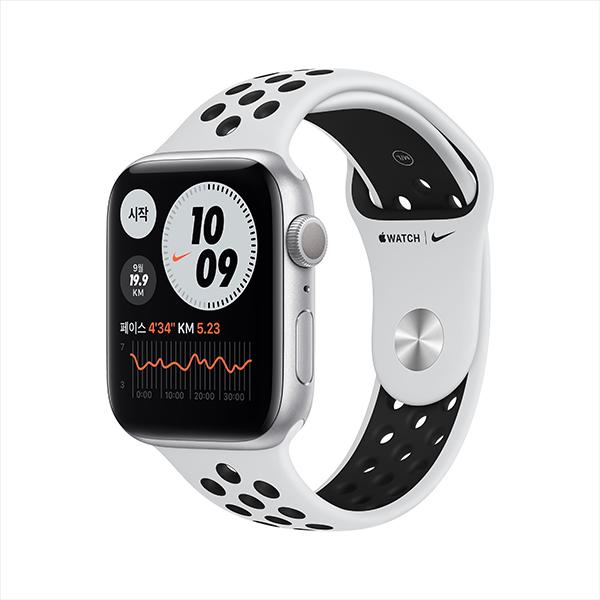 [apple]애플워치 나이키 시리즈 6 GPS, 44mm 실버 알루미늄 케이스