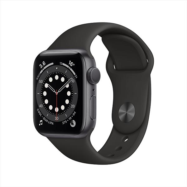 [Apple] 애플워치 시리즈 6 GPS, 40mm 스페이스 그레이 알루미늄 케이스 & 블랙 스포츠 밴드 - MG133KH/A