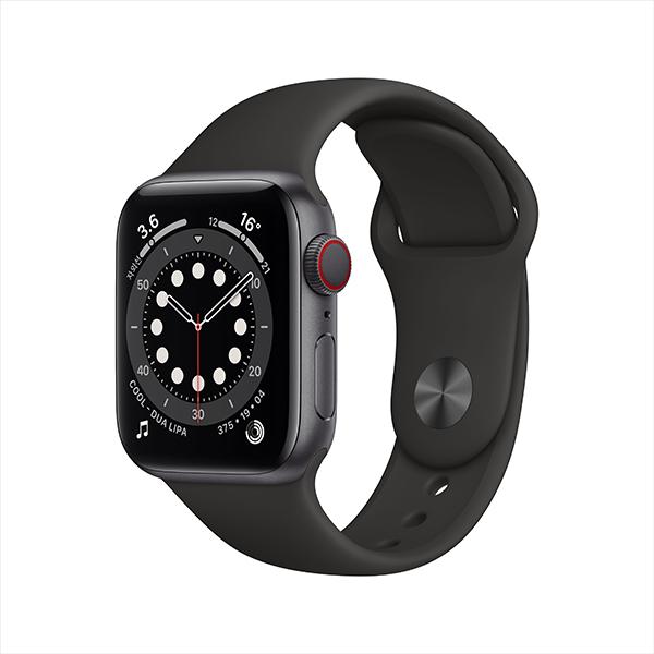 [Apple] 애플워치 시리즈 6 GPS + Cellular, 40mm 스페이스 그레이 알루미늄 케이스 & 블랙 스포츠 밴드 - M06P3KH/A